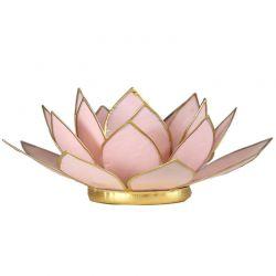Świecznik Kwiat Lotosu pastelowy róż - mały