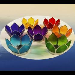 Świeczniki w kształcie kwiatu lotosu - 7 czakr