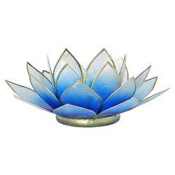 Świecznik Kwiat Lotosu niebiesko - biały - mały
