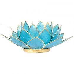 Świecznik Kwiat Lotosu niebieski - mały, tealight
