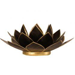 Świecznik Kwiat Lotosu czarny - mały, na tealight