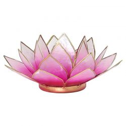 Świecznik Kwiat Lotosu jasny róż - mały, tealight
