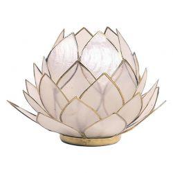 Świecznik Kwiat Lotosu masa perłowa -duży,tealight