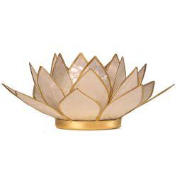 Świecznik Kwiat Lotosu perłowy - mały, tealight