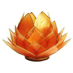 Świecznik Kwiat Lotosu pomarańczowy - duży