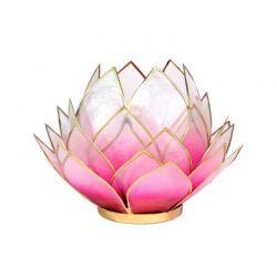 Świecznik Kwiat Lotosu różowy - duży, tealight