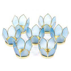 Zestaw 7 świeczników Kwiat Lotosu - błękitny